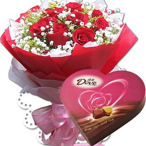 一盒德芙巧克力价格_鲜花巧克力03-11枝红玫瑰.满天星,黄莺点缀;加一盒德芙心语 ...